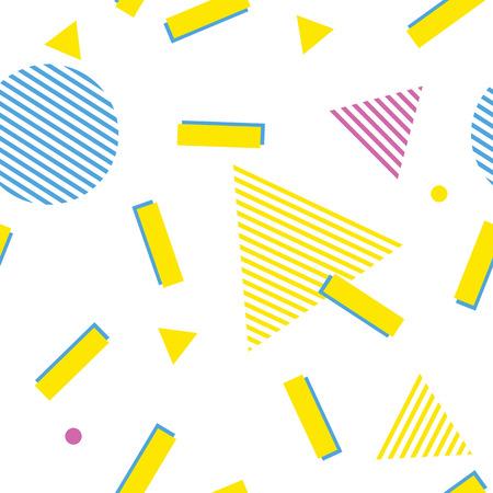 추상 멤피스 스타일 패턴입니다. 노란색, 파란색 및 분홍색 삼각형, 원형 및 라인 패턴 흰색 원활한 형상 80 년대 배경. 현대 배경