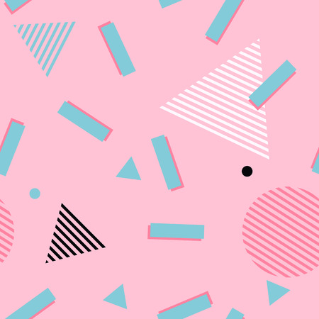Pink abstract memphis style pattern. Geometric 80s style background with green rectangles, circles and triangle with striped pattern texture Illustration