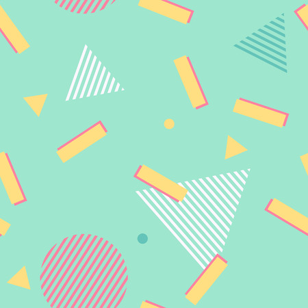 Abstract green pattern. Seamless geometric memphis trend 80s style background. Triangle, circle and rectangle chaotic retro pattern texture