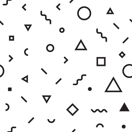 Vector hipster pattern with black and white geometric forms. Line, square, triangle, circle shape seamless. Retro 80s-90s pattern Ilustrace