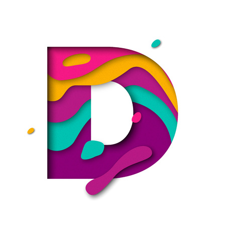 multi layered: Paper cut letter D. Realistic 3D multi layers papercut effect isolated on white background. Colorful character of alphabet letter font. Decoration origami element for birthday or greeting design
