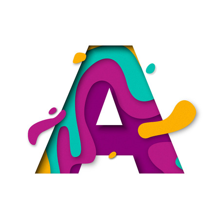 Paper cut letter A. Realistic 3D multi layers papercut effect isolated on white background. Colorful character of alphabet letter font. Decoration origami element for birthday or greeting design