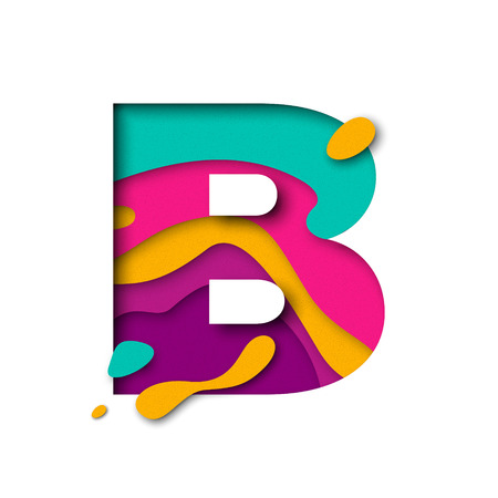 Paper cut letter B. Realistic 3D multi layers papercut effect isolated on white background. Colorful character of alphabet letter font. Decoration origami element for birthday or greeting design