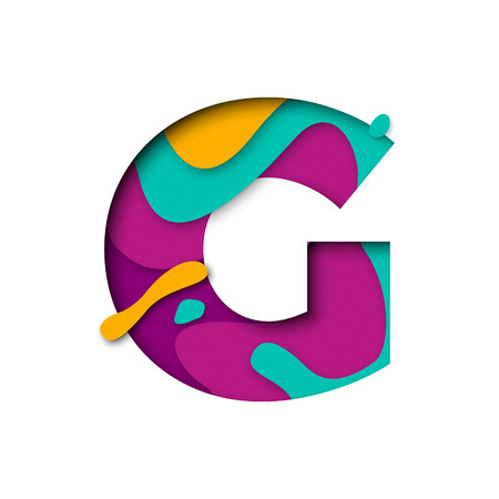 multi layered: Paper cut letter G. Realistic 3D multi layers papercut effect isolated on white background. Colorful character of alphabet letter font. Decoration origami element for birthday or greeting design