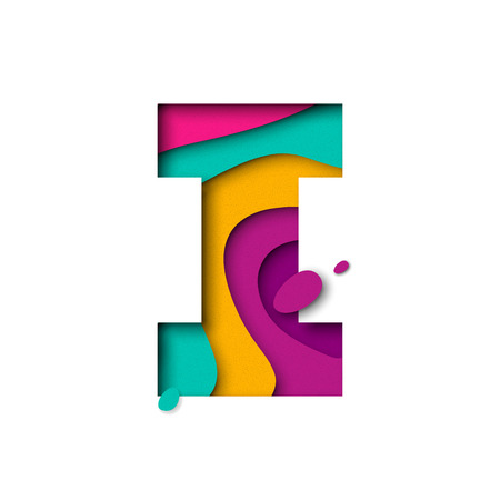 Paper cut letter I. Realistic 3D multi layers papercut effect isolated on white background. Colorful character of alphabet letter font. Decoration origami element for birthday or greeting design