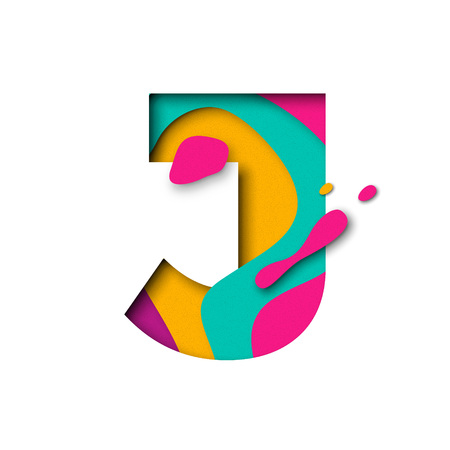 multi layered: Paper cut letter J. Realistic 3D multi layers papercut effect isolated on white background. Colorful character of alphabet letter font. Decoration origami element for birthday or greeting design Illustration