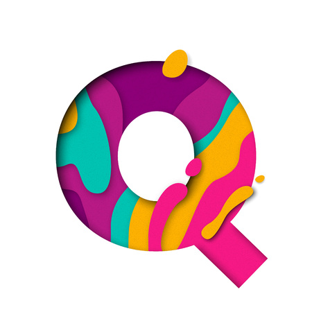 multi layered: Paper cut letter Q. Realistic 3D multi layers papercut effect isolated on white background. Colorful character of alphabet letter font. Decoration origami element for birthday or greeting design