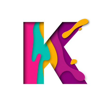 Paper cut letter K. Realistic 3D multi layers papercut effect isolated on white background. Colorful character of alphabet letter font. Decoration origami element for birthday or greeting design