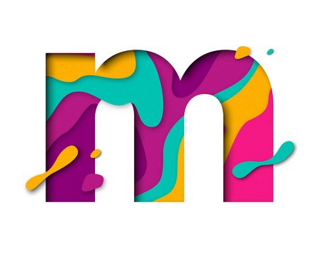 multi layered: Paper cut letter M. Realistic 3D multi layers papercut effect isolated on white background. Colorful character of alphabet letter font. Decoration origami element for birthday or greeting design