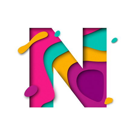 multi layered: Paper cut letter N. Realistic 3D multi layers papercut effect isolated on white background. Colorful character of alphabet letter font. Decoration origami element for birthday or greeting design