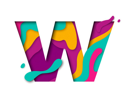 multi layered: Paper cut letter W. Realistic 3D multi layers papercut effect isolated on white background. Colorful character of alphabet letter font. Decoration origami element for birthday or greeting design Illustration