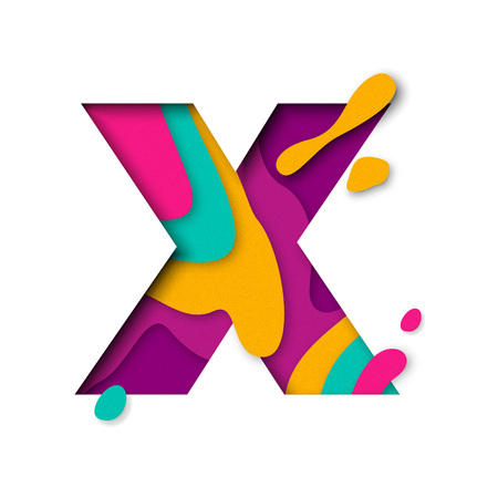 Paper cut letter X. Realistic 3D multi layers papercut effect isolated on white background. Colorful character of alphabet letter font. Decoration origami element for birthday or greeting design 矢量图像