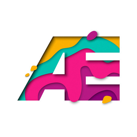 multi layered: Paper cut letter AE ligature. Realistic 3D multi layers papercut effect isolated on white background. French or Danish alphabet letter font. Decoration element for birthday or wedding greeting design. Illustration