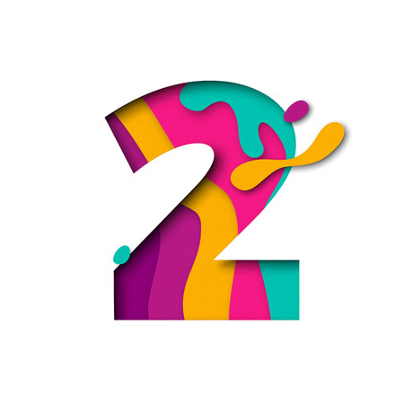 Paper cut number Two 2 letter. Realistic 3D multi layers papercut effect isolated on white background. Figure of alphabet letter font. Decoration element for birthday or wedding greeting design