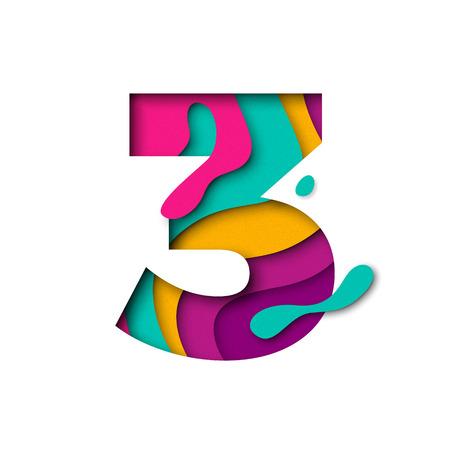 Papierschnittnummer Drei 3 Buchstaben. Realistische 3D-Multi-Layer-Papercut-Effekt isoliert auf weißem Hintergrund. Abbildung der Buchstaben des Alphabets. Dekorationselement für Geburtstags- oder Hochzeitsgrußdesign Vektorgrafik