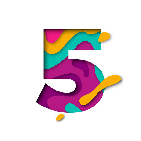 multi layered: Paper cut number Five 5 letter. Realistic 3D multi layers papercut effect isolated on white background. Figure of alphabet letter font. Decoration element for birthday or wedding greeting design