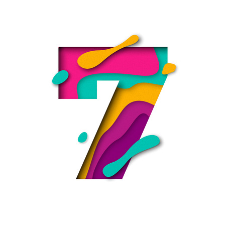Paper cut number Seven 7 letter. Realistic 3D multi layers papercut effect isolated on white background. Figure of alphabet letter font. Decoration element for birthday or wedding greeting design