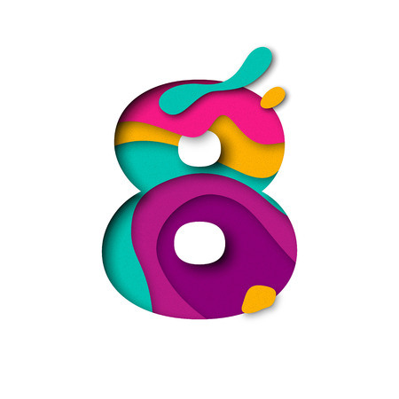 Paper cut number Eight 8 letter. Realistic 3D multi layers papercut effect isolated on white background. Figure of alphabet letter font. Decoration element for birthday or wedding greeting design Vettoriali
