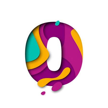 Papel cortado Cero o letra nula. Efecto realista 3D papercut capas múltiples aisladas sobre fondo blanco. Figura de la fuente de la letra del alfabeto. Elemento de decoración para cumpleaños o diseño de saludo de la boda