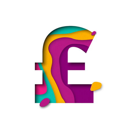multi layered: Pound symbol. English currency sign of paper cut origami elements. Alphabet letter with 3d multi layers papercut effect
