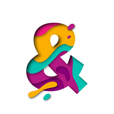 multi layered: And symbol or ampersand logogram sign of paper cut origami elements. Alphabet letter with 3d multi layers papercut effect Illustration