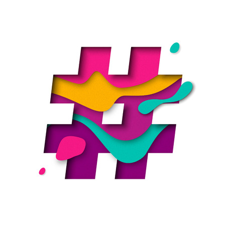 multi layered: Hashtag or number sign or hash character. 3d letter with paper cut texture effect and color multi layers