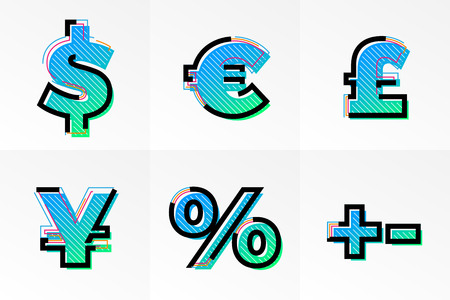 Modern font currency exchange signs and symbols set. Vector abstract memphis font with gradient color and line design on white background for poster title headline or corporate identity typography.