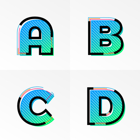 Modern font alphabet set with letter A, B, C, D. Vector abstract letters memphis gradient color and line design on white background for poster title headline or corporate identity typography Illustration