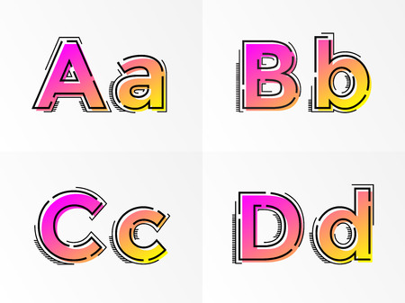 letter c: Modern alphabet set with letter A, B, C, D. Vector abstract font with gradient color and line design on white background for poster title headline or corporate identity typography
