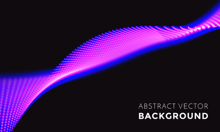 Neon light in technology digital motion. Blue futuristic glowing wave or spiral 3D LED lights vibe flow on black vector background for television festival backdrop Illustration