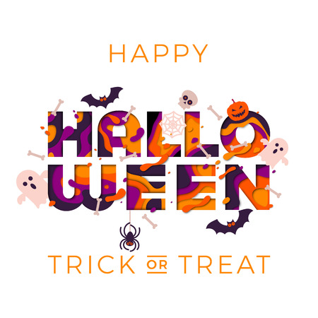 Happy Halloween greeting card or party poster with papercut multi color text, pumpkin, bat or black cat and ghost skull. Vector trick or treat Halloween party design