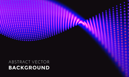 Abstract neon light wave on black background. Vector digital technology 3D LED lights mesh in glowing digital wave. Sparkling splash illumination for television backdrop or music festival performance Illustration