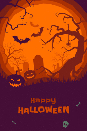 Happy Halloween poster of pumpkin on graveyard, full moon dark night and tombstone, zombie skeleton skull and black bat. Vector orange horror trick or treat Halloween holiday greeting card Illustration