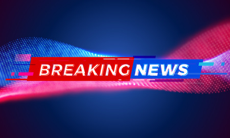 News background tag. Modern futuristic breaking news title template with abstract vector red and blue light effect on black backdrop for TV screen