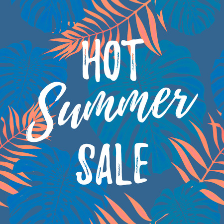 Hot Summer Sale poster of blue and red palm leaf pattern background ot tropical flowers. Seasonal shopping discount promo vector design template for online shop web banner, flyer, leaflet, poster.