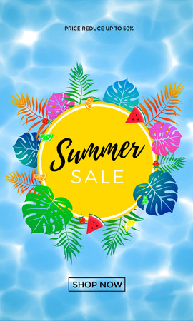 Summer sale discount promo poster or banner for seasonal shopping 50 percent discount of pal leaf, summer fruit and berry on water background. Vector promo flyer design template for shop sale Illustration