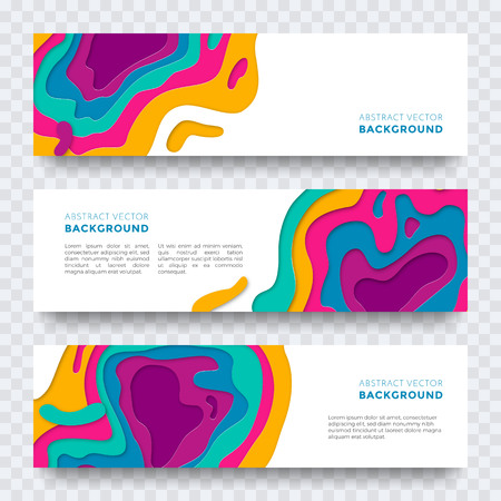 website header: Banner templates set with modern papaer cut texture. Vector multi color layers texture pattern design for web landing page, leaflet or poster