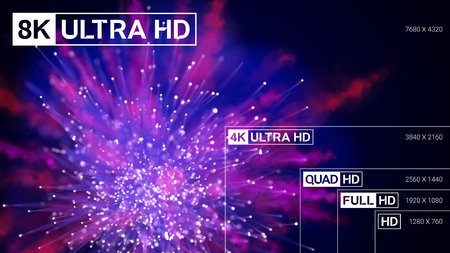 8K Ultra HD, 4K UHD, Quad HD, Full HD and HD resolution presentation scale frame with abstract color powder background. Vector illustration with TV symbols and icons Illustration