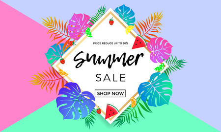 50 off: Summer sale banner template for summertime seasonal discount promo. Vector 50 off special offer for shop poster or online web advertising template with palm leaf, watermelon and orange fruit in frame