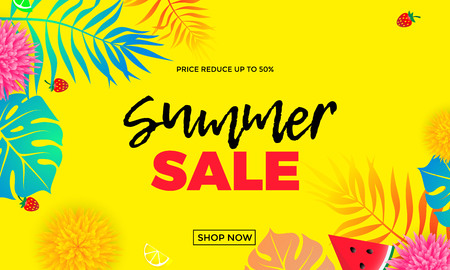 50 off: Summer sale and special offer shop banner template with palm leaf pattern bright color background. 50 percent off price reduce poster for seasonal shopping flyer or vector shop online advertising