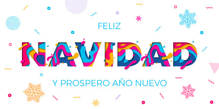 Feliz Navidad Merry Christmas Spanish greeting card, Prospero Ano Nuevo or Happy New Year wish poster. Vector paper cut multi color layers effect and winter holiday snowflakes pattern white background