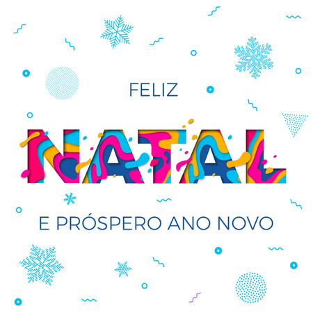 Feliz Natal Merry Christmas Portuguese greeting card, Ano Novo or Happy New Year wish poster of winter holiday snowflakes pattern white background. Vector paper cut multi color layers carving Ilustração