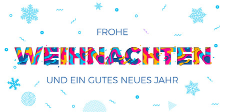 Frohe Weihnachten Merry Christmas and Neus Jahr Happy New Year German holiday greeting card white background. Winter snowflakes pattern on vector paper cut multi color layers text carving poster 일러스트