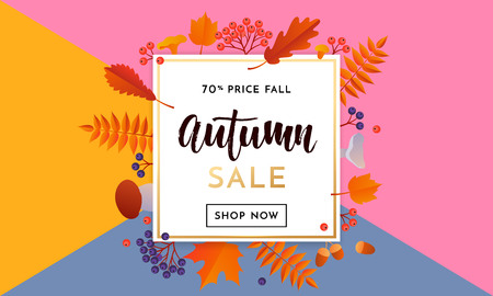 Autumn sale poster or autumnal shopping promo 70 percent banner for September fall with maple and oak acorn leaf foliage and discount text. Vector design for shop poster, leaflet or web banner Illustration