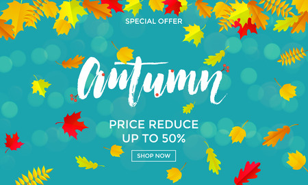 Autumn sale banner with gold discount text.