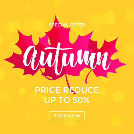 Autumn sale poster with purple maple leaf.