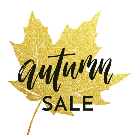 Autumn sale poster for September fall shopping with gold maple leaf imprint and discount text. autumnal golden design for promo leaflet or web banner