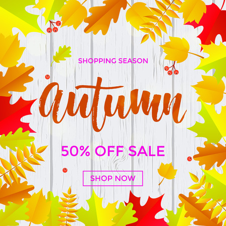 Autumn sale poster for September 50 percent shopping promo autumnal discount. Illustration