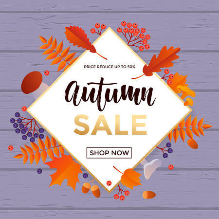 Autumn gold sale text poster for September shopping promo or 50 percent autumnal shop discount. Vector maple and oak acorn leaf foliage, mushroom and berry for discount design of leaflet web banner Illustration