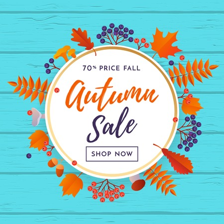 Autumn sale poster with gold discount text for September shopping promo or autumnal shop design. Vector maple and oak acorn leaf foliage, mushroom and berry background for leaflet or web banner Ilustração